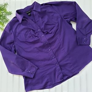 Lane Bryant Purple Button Front Shirt size 18